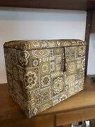 Vintage Retro 1960's 70's Sewing Box Knitting Case Work Box Foot Stool Poufee