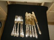 R W And S Wallace Sterling Silver Waverly Pattern 6 Dinner Knives And Forks