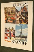 Vintage 1970's Braniff International Airlines Poster - Europe