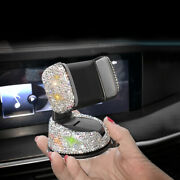 Bling Girls Car Accessories White Crystal Phone Stand Air Vent Clip Mount Holder