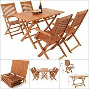 Wooden Garden Table Chairs Set Outdoor Folding Patio Terrace Dining Furniture
