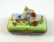 New French Limoges Trinket Box Gray Cat Playing With Clog Shoe In Amazing Garden