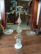 Vintage Glass/crystal/metal Scale Of Justice Dishes W/tear Drops And Marble Base