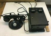 Vintage Telephone Western Electric Phone E1 With Hand Crank Ringer Box