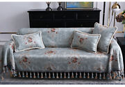 Vintage Jacquard Couch Cover 3 Seater Tassel Floral Sofa Covers For Living Room