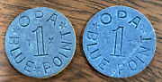 Lot Of 2 Blue Opa One Point Tokens Letters Tx And Tt World War Two Wwii Ration