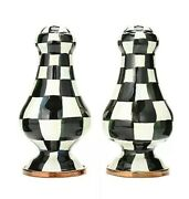 Mackenzie Childs Brand New In Box Courtly Check Large Set Salt And Pepper Shakers