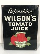 Wilsonand039s Tomato Juice Vintage Ande Rooney Porcelain Enameled Ad Sign Made In Usa