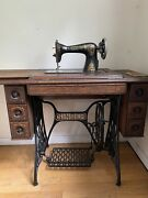 Singer Model 15 Gingerbread Antique Treadle Sewing Machine With Cabinet