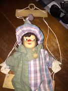Vintage Puppet Porcelain Head. Sits On A Swing