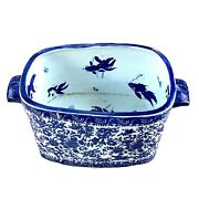 Late 19th C. Japanese Blue And White Porcelain Fish Bowl Jardinaire