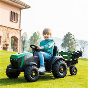 Green 12v Kids Ride On Tractor Car Toys Battery Wheels Music 2 Mode With Trailer