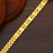 22k Yellow Gold Menand039s Bracelet Beautifully Handcrafted Diamond Cut Design 16
