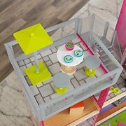 New Kidkraft Uptown Wooden Dollhouse With 35 Pieces Of Furniture Fits 12 Barbie