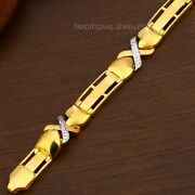 22k Yellow Gold Menand039s Bracelet Beautifully Handcrafted Diamond Cut Design 29