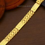 22k Yellow Gold Menand039s Bracelet Beautifully Handcrafted Diamond Cut Design 31