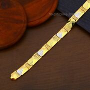 22k Yellow Gold Menand039s Bracelet Beautifully Handcrafted Diamond Cut Design 32