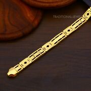 22k Yellow Gold Menand039s Bracelet Beautifully Handcrafted Diamond Cut Design 33