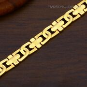 22k Yellow Gold Menand039s Bracelet Beautifully Handcrafted Diamond Cut Design 51