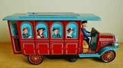 Vintage 1960s Old Fashioned Bus Battery Operated Tin Toy Japan Boxed