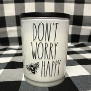 Rae Dunn Cannabis Rose Candle Donand039t Worry Bee Happy Scented Jar 16 Oz New