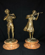 Bronze Sculpture Girl Playing Violin/boy Playing Flute By Fonderia Lancini