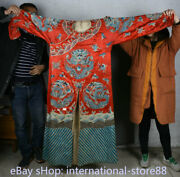 63.2 Old China Red Silk Cloth Embroidery Dynasty Palace Dragon Robe Imperial