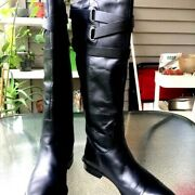 Coach Black Leather High Boots Us Size 7m