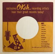 Okeh Company Sleeve For 45 Rpm Record - Purple On Gold Artists Sleeve, Early 50s
