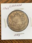1945 Canada 50¢ Fifty Cent King George Vi Half Dollar .800 Silver Coin