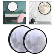 Vanity Led Moon Mirror Lamp Wall Decoration Round Wooden Frame Romantic Gift