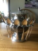Monarch Plate Brand Silver-plate Sugar Bowl With 12 Spoons