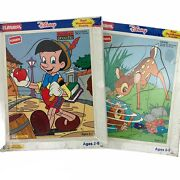 Lot Of 2 Playskool Pinocchio And Bambi Disney Wood Board Puzzle Factory Sealed