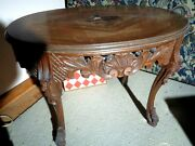 Antique Sm Oval Wood Cocktail Side Tea Table Inlaid Carved 28w X 18d 20 1/4h