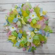 20 Spring Or Summer Wreath In Pink Yellow And Green Deco Mesh