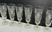 Libbey Lily Of The Valley Vintage Pilsner Glasses White Gold Set Of 6 Tall Lot