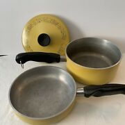 Wear Ever Wearever Yellow Registered Skillet Frying Pan Pot With Lid 3 Pieces