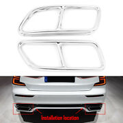 Stainless Steel Exhaust Muffler Tail Pipe Cover Trim For 2014-2019 Volvo S60 V60