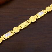 22k Yellow Gold Menand039s Bracelet Beautifully Handcrafted Diamond Cut Design 76