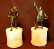 Nautical Marine Lamps Bronzed Pirate And Old Salt Alabaster Lite Up Bases