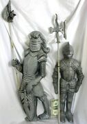 Medieval Knights W Halberds Hanging Wall Decor 34 Tall C.1950