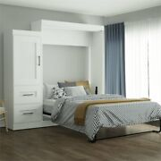 Atlin Designs Queen Wall Bed With 2 Drawer Storage Unit In White