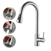 Commercial Kitchen Sink Faucet Stainless Steel Single Handle W/ Pull Out Sprayer
