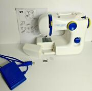 Ikea Sy Small Sewing Machine With Pedal - Tested And Working - Blue And White