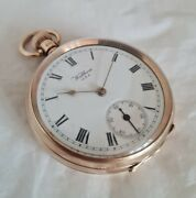 9ct Yellow Gold Cased Open Faced Pocket Watch. Birmingham 1915 . By Waltham Usa