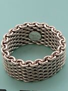 And Co Sterling Silver Somerset Mesh Weave Ring Size 7-1/4 W/bag