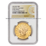 1900 20 Gold Liberty Ngc Ms61 Philadelphia Mint Double Eagle Graded Coin