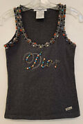 Christian Dior Gray Cotton Blend Beaded Tank Made In Italy Sz 8