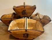 Large Antique Chinese Or Japanese Set Of 4 Wood Rice Grain Buckets Baskets
