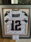 Tom Brady Patriots 12 Autographed Signed Jersey In Deluxe Frame W/ Coa